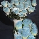 84 Silk Rose Flowers with Raindrops-Wedding Roses Flowers - Ivory/Blue