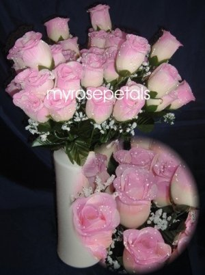 84 Silk Rose Flowers with Raindrops-Wedding Roses Flowers - Ivory/Pale Pink