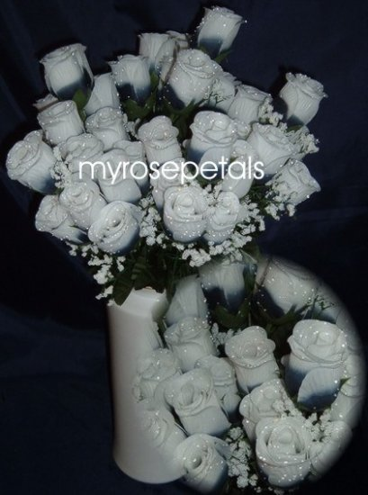 84 Silk Rose Flowers with Raindrops-Wedding Flowers - Navy Blue/White