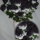 84 Silk Rose Flowers with Raindrops-Wedding Roses Flowers - White/Black