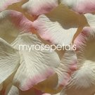 Petals - 1000 Silk Rose Petals Wedding Favors -  Two Tone - Ivory/Pink