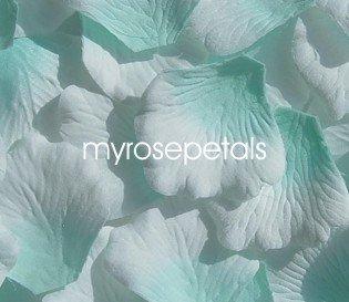 Petals - 200 Silk Rose Petals Wedding Favors -  Two Tone - Aqua/White