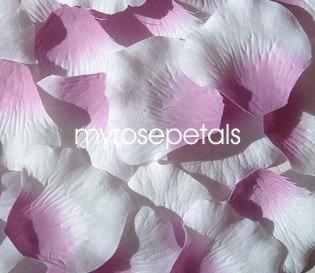 Petals - 200 Silk Rose Petals Wedding Favors -  Two Tone - Dusty Rose/White