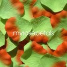 Petals - 200 Silk Rose Petals Wedding Favors -  Two Tone - Lime Green/Orange