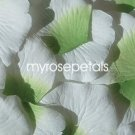 Petals - 200 Silk Rose Petals Wedding Favors -  Two Tone - Lime Green/White