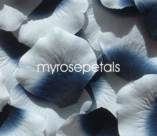 Petals - 200 Silk Rose Petals Wedding Favors -  Two Tone - Navy Blue/White