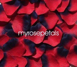 Petals - 200 Silk Rose Petals Wedding Favors -  Two Tone - Red/Navy Blue