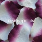 Petals - 200 Silk Rose Petals Wedding Favors -  Two Tone - White/Plum