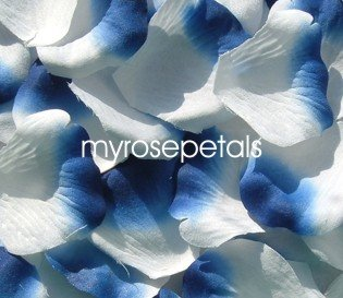 Petals - 200 Silk Rose Petals Wedding Favors -  Two Tone - White/Royal Blue