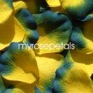 Petals - 200 Silk Rose Petals Wedding Favors -  Two Tone - Yellow/Royal Blue
