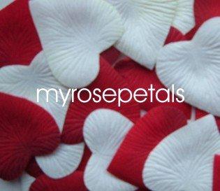 Petals - 1000 Heart Wedding Silk Rose Flower Petals Wedding Favors - White & Burgundy