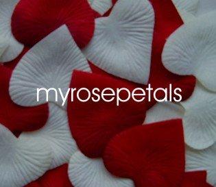 Petals - 200 Heart Wedding Silk Rose Flower Petals Wedding Favors - Ivory & Burgundy