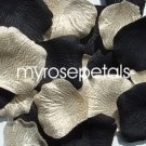 Petals - 200 Wedding Silk Rose Flower Petals Wedding Favors - Black & Woven Gold