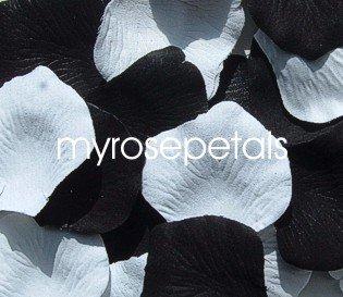 Petals - 200 Wedding Silk Rose Flower Petals Wedding Favors - Black & White