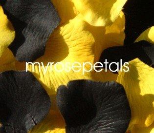 Petals - 200 Wedding Silk Rose Flower Petals Wedding Favors - Black & Yellow