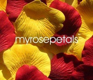 Petals - 200 Wedding Silk Rose Flower Petals Wedding Favors - Burgundy & Yellow