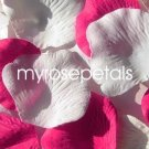 Petals - 200 Wedding Silk Rose Flower Petals Wedding Favors - Hot Pink & White