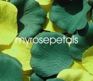 Petals - 200 Wedding Silk Rose Flower Petals Wedding Favors - Hunter Green & Lime Green