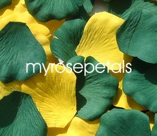 Petals - 200 Wedding Silk Rose Flower Petals Wedding Favors - Hunter Green & Yellow