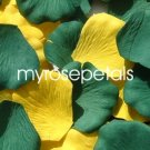 Petals - 200 Wedding Silk Rose Flower Petals Wedding Favors - Hunter Green & Yellow
