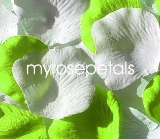 Petals - 200 Wedding Silk Rose Flower Petals Wedding Favors - Lime Green & White