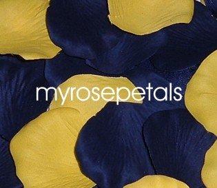 Petals - 200 Wedding Silk Rose Flower Petals Wedding Favors - Navy Blue & Yellow