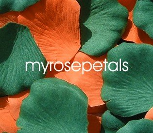Petals - 200 Wedding Silk Rose Flower Petals Wedding Favors - Orange & Hunter Green