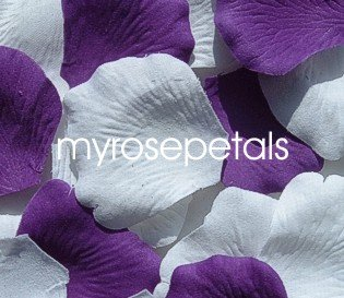 Petals - 200 Wedding Silk Rose Flower Petals Wedding Favors - Purple & White