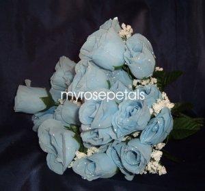 84 Silk Rose Flowers with Raindrops-Wedding Roses Flowers - Powder Blue