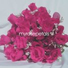 84 Silk Rose Flowers with Raindrops-Wedding Roses Flowers - Hot Pink