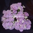84 Silk Rose Flowers with Raindrops-Wedding Roses Flowers - Lavender