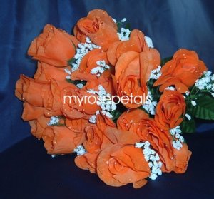 84 Silk Rose Flowers with Raindrops-Wedding Roses Flowers - Orange
