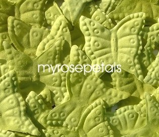 Petals - 200 Butterfly Shaped Silk Rose Petals - Wedding Favors - Lime Green