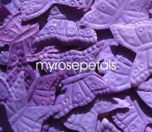 Petals - 200 Butterfly Shaped Silk Rose Petals - Wedding Favors - Purple