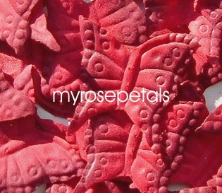 Petals - 200 Butterfly Shaped Silk Rose Petals - Wedding Favors - Red