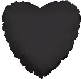 "12 Mylar/Foil Balloons Lot Wedding/Party-Heart- 18"" - Black"