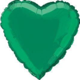 "12 Mylar/Foil Balloons Lot Wedding/Party-Heart- 18"" - Green"