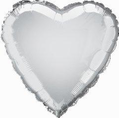 "12 Mylar/Foil Balloons Lot Wedding/Party-Heart- 18"" - Silver"