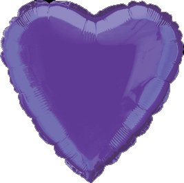 "12 Mylar/Foil Balloons Lot Wedding/Party-Heart- 18"" - Purple"