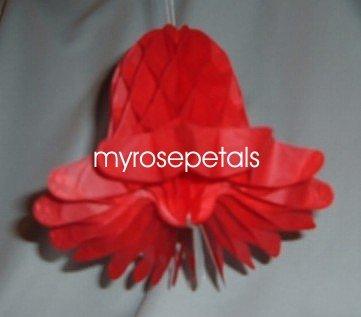 "Honeycomb Bells - Bridal/Wedding/Anniversary Decor - 5"" (6 count) - Red"