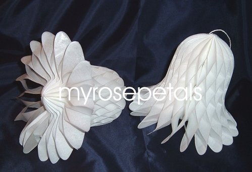 "Honeycomb Bells - Bridal/Wedding/Anniversary Decor - 7"" (3 count) - White"