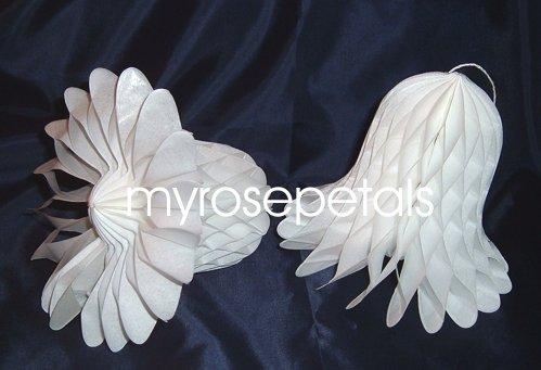 "Honeycomb Bells - Bridal/Wedding/Anniversary Decor - 9"" (2 count) - White"