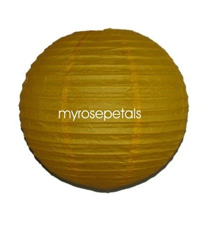 """Party Paper Lantern-Round 16""""-Luau Supplies- Oriental/Chinese Lamps - Yellow"""