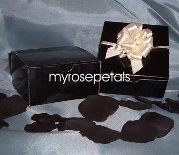 "Glossy Favor Boxes - 4""x 4"" x 2"" Black - (50 pcs) Wedding/Shower/Party Favors"