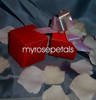 """Glossy Favor Boxes - 2""""x 2"""" x 2"""" Red - (50 pcs) Wedding/Shower/Party Favors"""