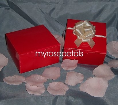 """Glossy Favor Boxes - 4""""x 4"""" x 2"""" Red - (25 pcs) Wedding/Shower/Party Favors"""