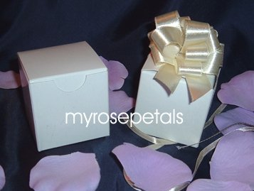 """Glossy Favor Boxes - 2""""x 2"""" x 2"""" White - (10 pcs) Wedding/Shower/Party Favors"""