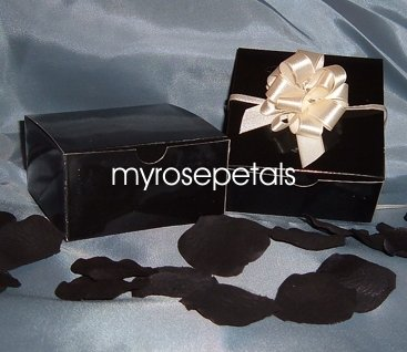 "Glossy Favor Boxes - 4""x 4"" x 2"" Black - (25 pcs) Wedding/Shower/Party Favors"