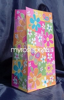 Paper Favor Treat Goody Luau Party Gift Bags - Flowers (10 Bags)