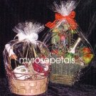 "Clear Cello/Cellophane Bags - Basket Bags - 50 Bags FLAT - 12"" x 16"" Gift Basket Supplies"